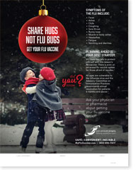 Share Hugs Not Flu Bugs (Holiday) - Pediatric Poster